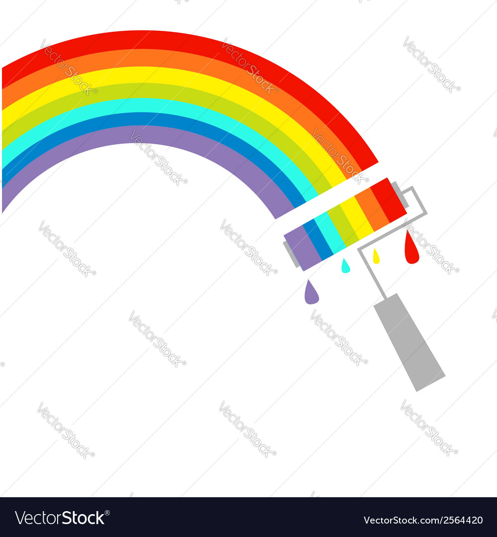 Rainbow cloud and paint roller with drops dash vector | Price: 1 Credit (USD $1)