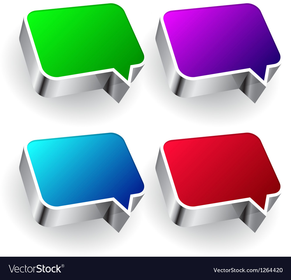 Set of colourful speech icon isolated on white vector | Price: 1 Credit (USD $1)