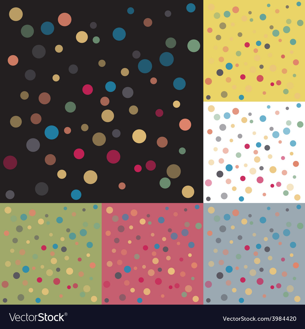 Set six backgrounds colored polka dots vector | Price: 1 Credit (USD $1)