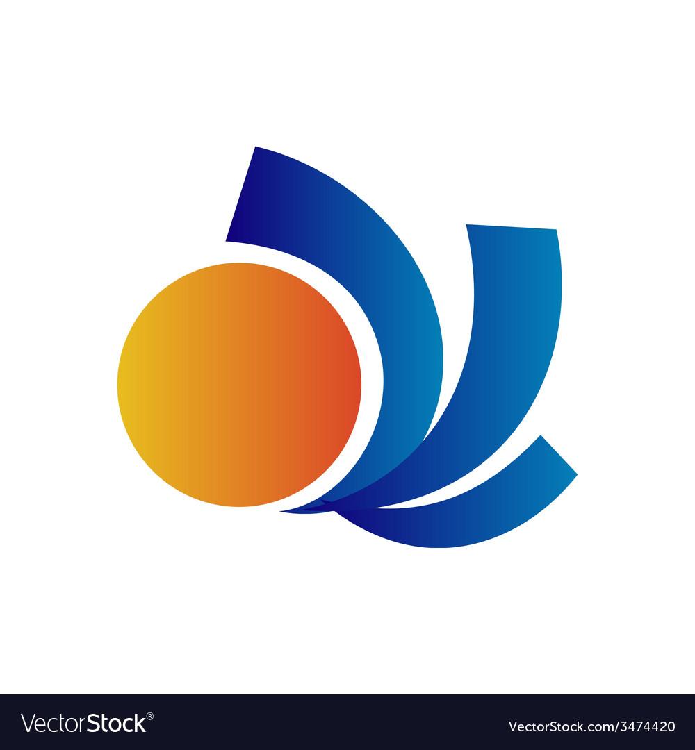 Travel sun logo design template vector