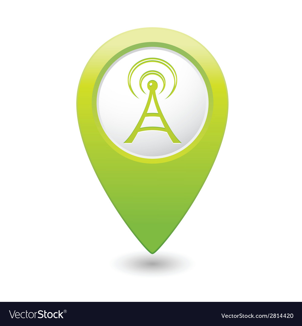 Wi fi icon green map pointer vector | Price: 1 Credit (USD $1)