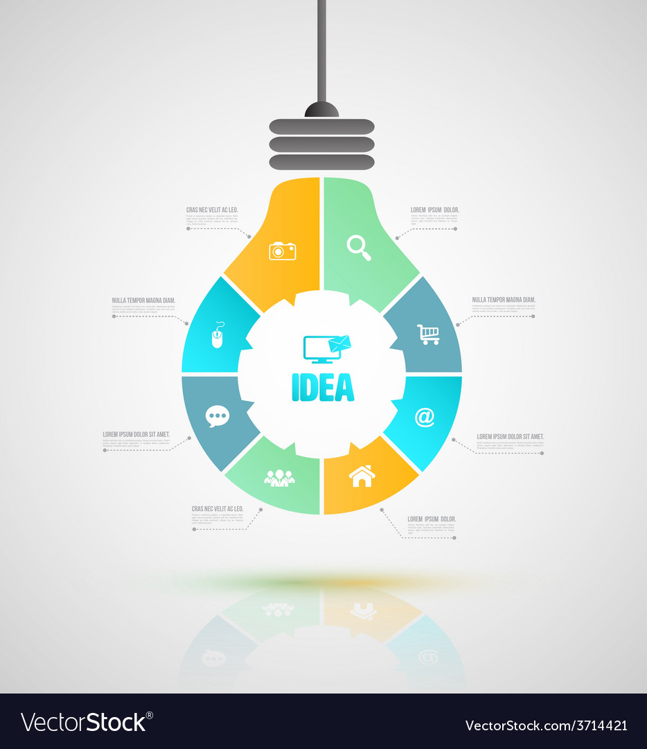Bulb business concepts with icons can use for info vector   Price: 1 Credit (USD $1)