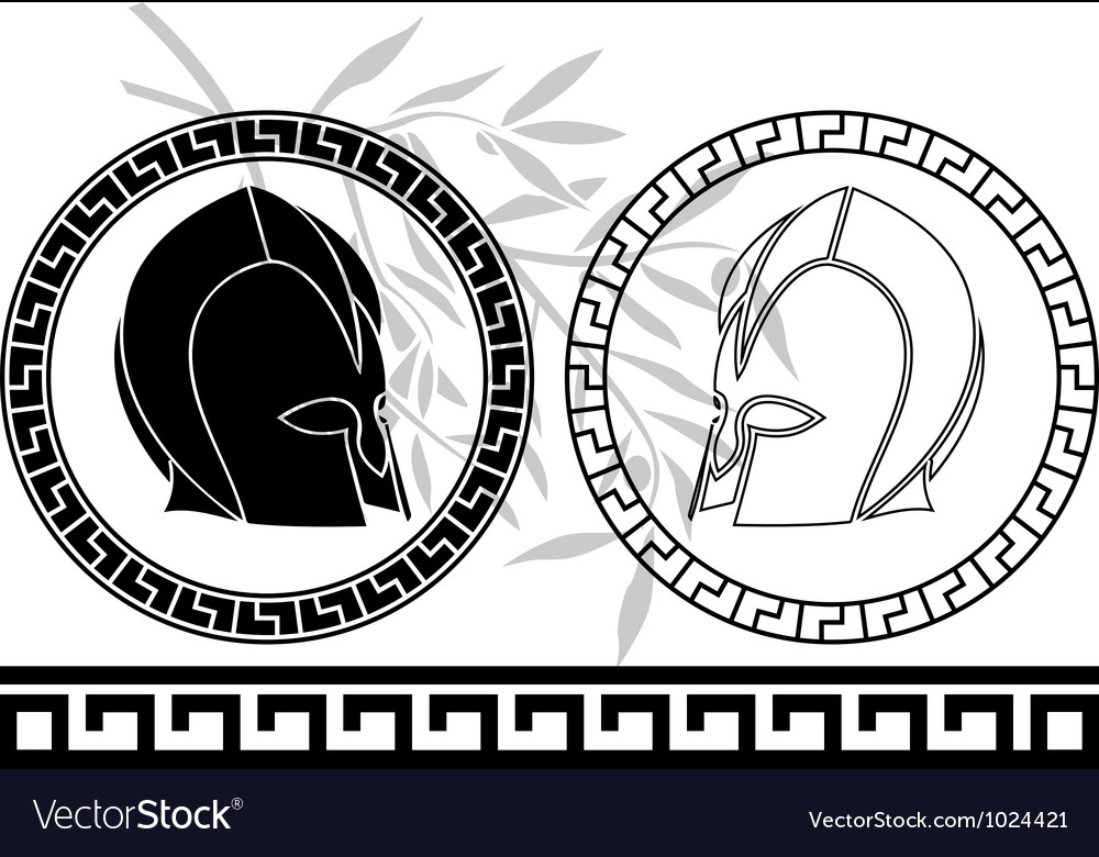 Fantasy ancient helmets stencil second variant vector | Price: 1 Credit (USD $1)