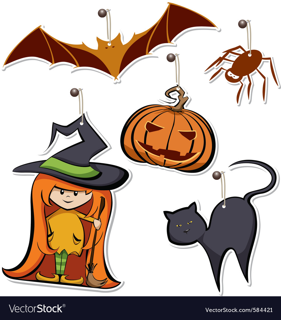 Halloween tags vector | Price: 1 Credit (USD $1)