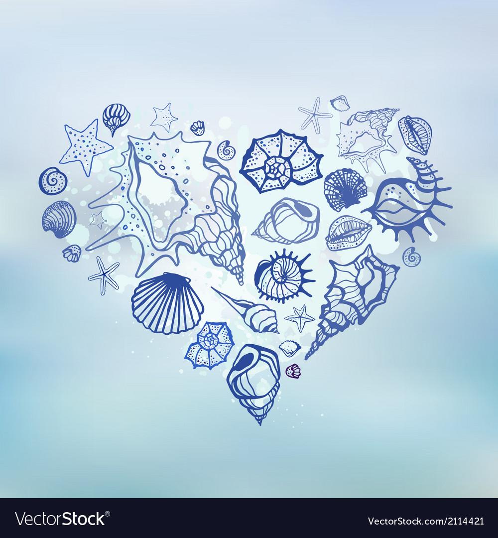 Heart of sea shells summer holidays vector | Price: 1 Credit (USD $1)