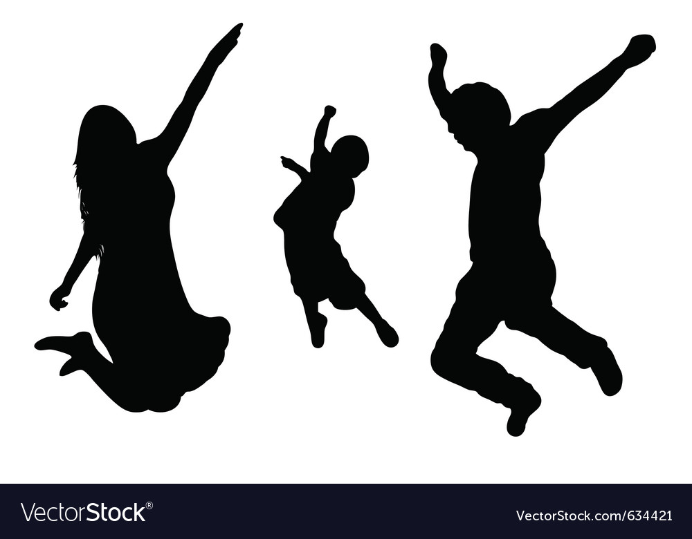 Jumping family silhouette vector | Price: 1 Credit (USD $1)