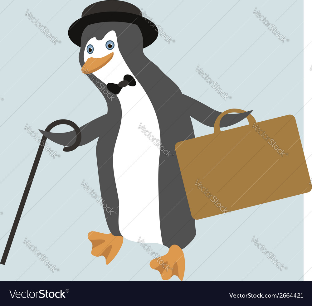 Old fashioned dancing penguin in comic hat vector | Price: 1 Credit (USD $1)