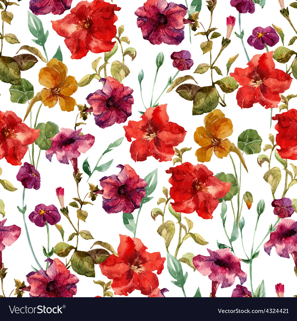 Petunia flower pattern vector | Price: 1 Credit (USD $1)