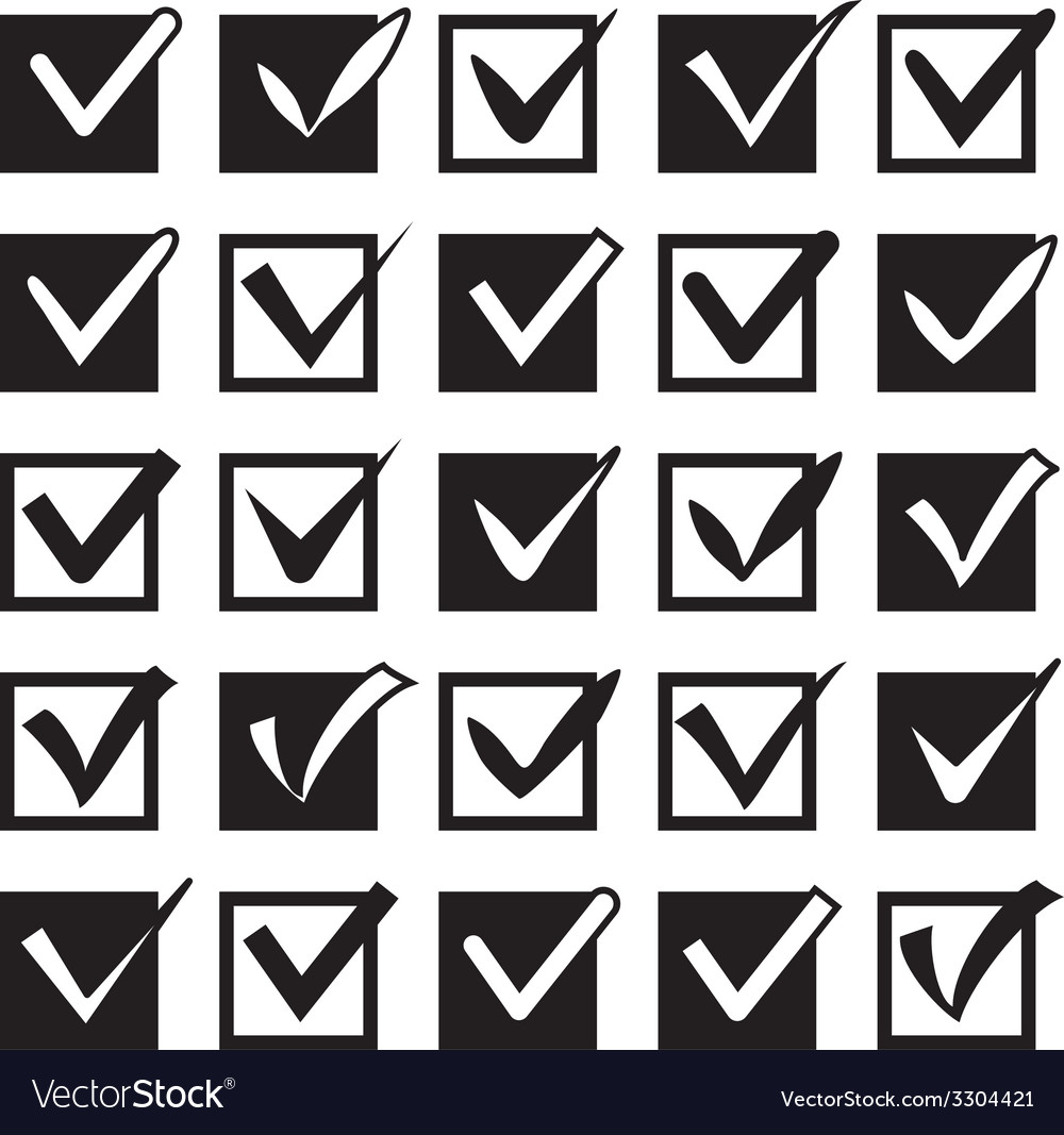 Set of different check marks in boxes vector | Price: 1 Credit (USD $1)