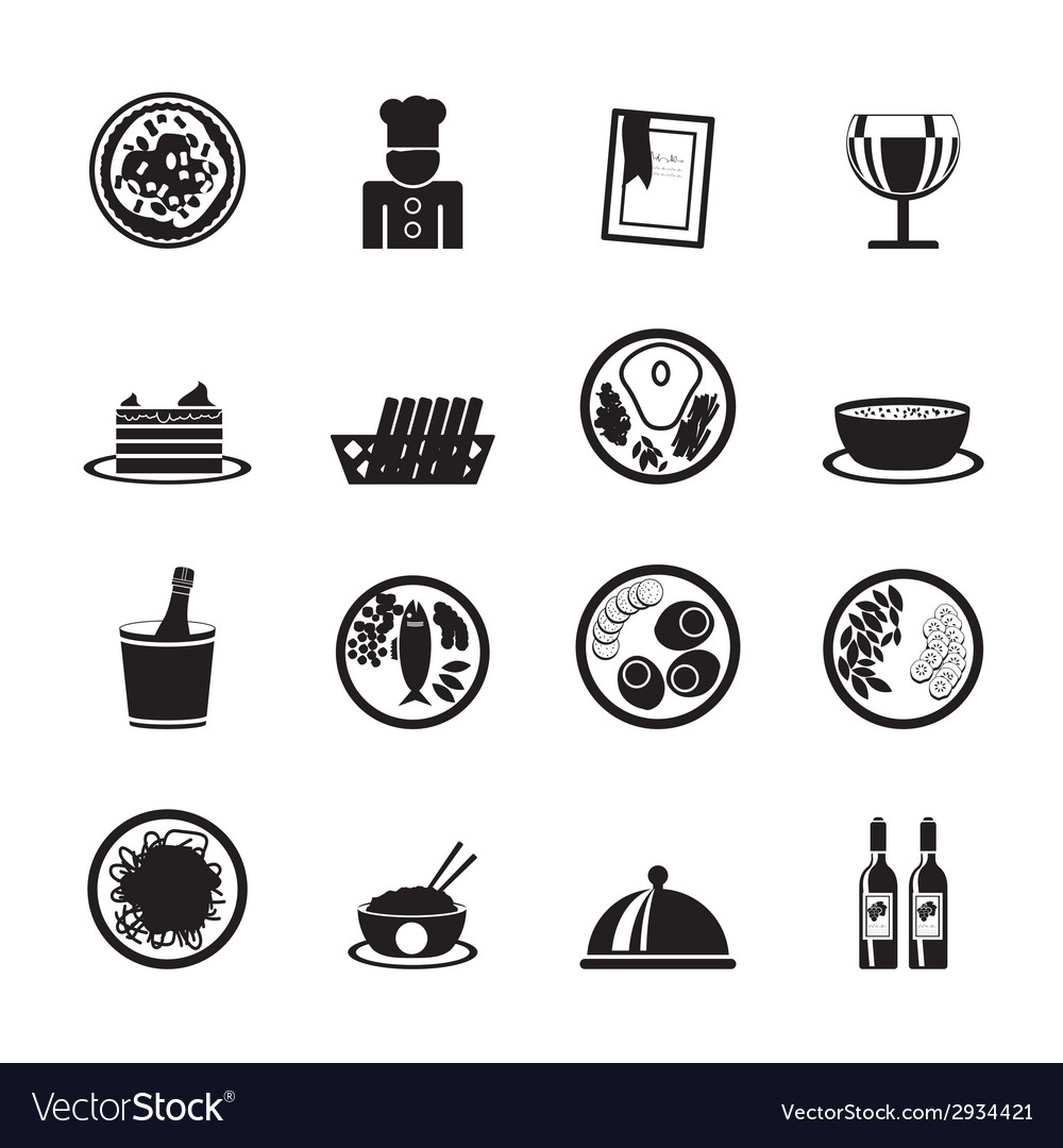 Silhouette food and drink icons vector | Price: 1 Credit (USD $1)