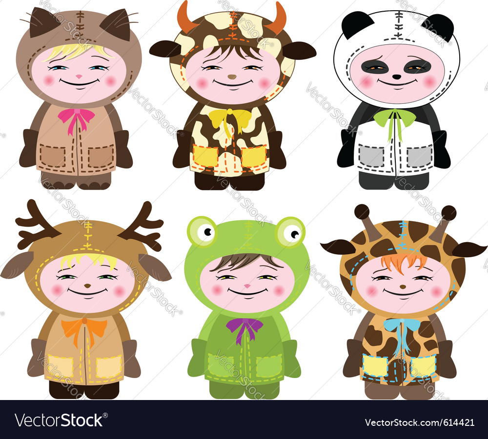 Six children in costumes of animals vector | Price: 3 Credit (USD $3)