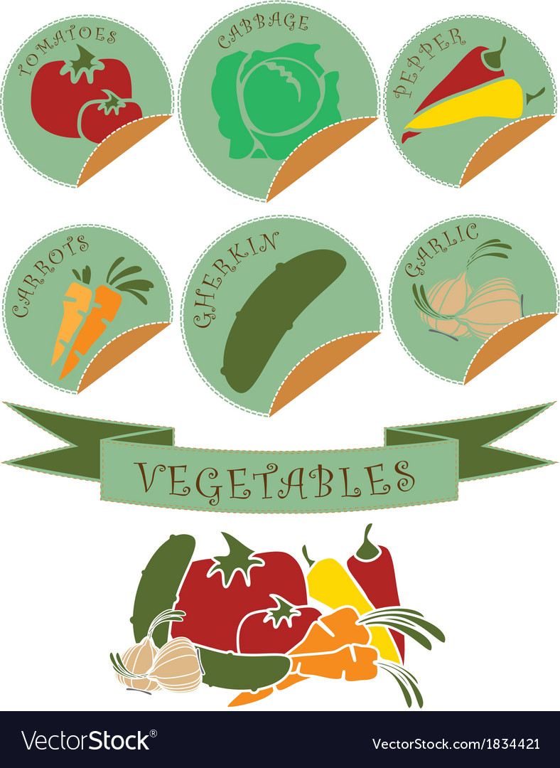 Vegetables labels preview vector | Price: 1 Credit (USD $1)