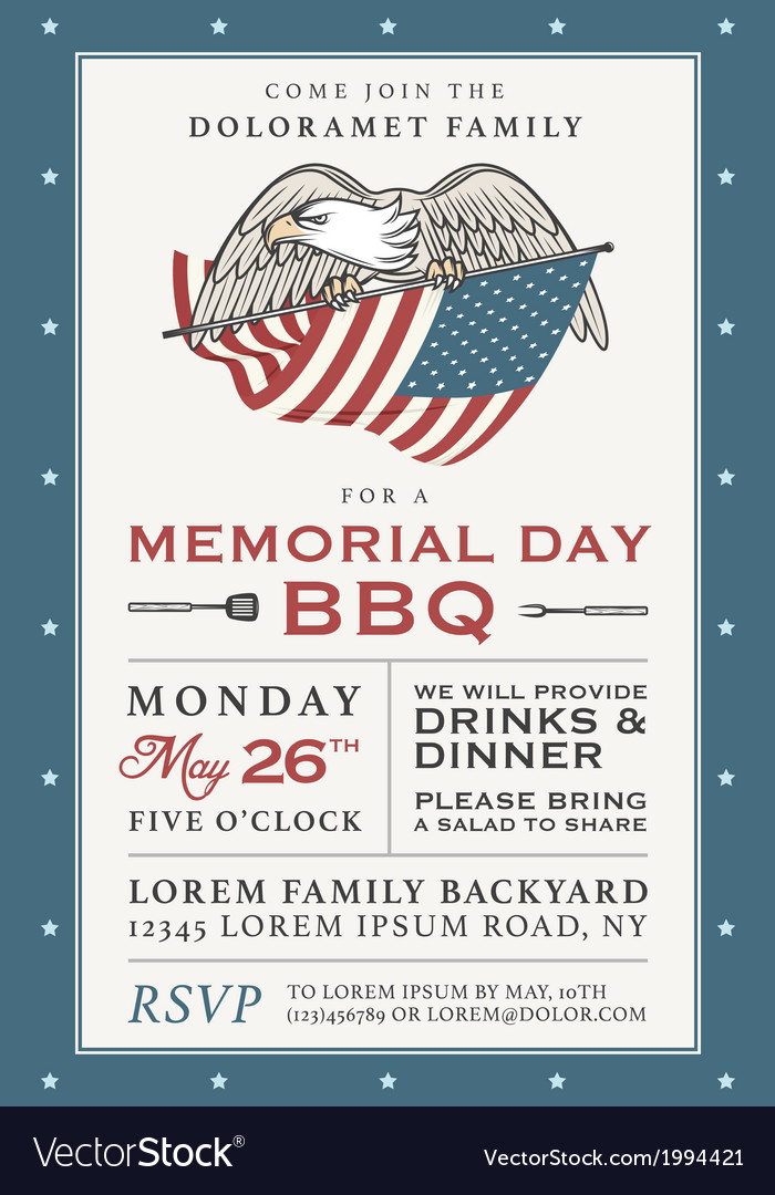 Vintage memorial day barbecue invitation vector | Price: 1 Credit (USD $1)