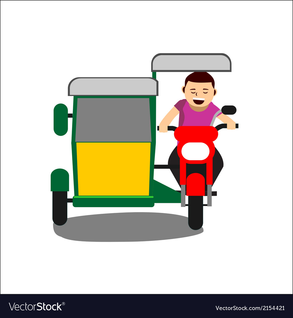 Young man driving a tricycle vector | Price: 1 Credit (USD $1)