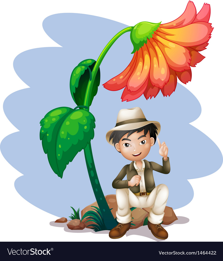 A boy sitting at the rock below a big flower vector | Price: 1 Credit (USD $1)