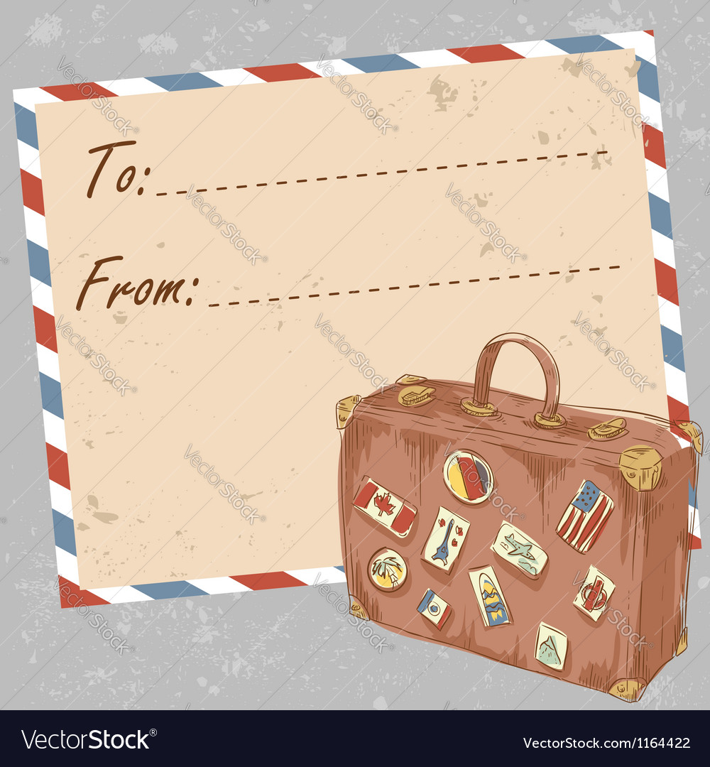 Air mail travel postcard with suitcase vector | Price: 3 Credit (USD $3)