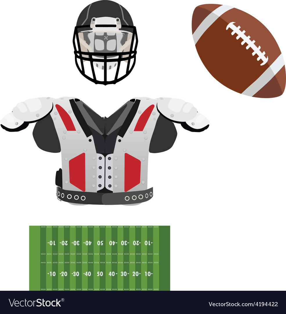 American football helmet ball field and armour vector | Price: 1 Credit (USD $1)