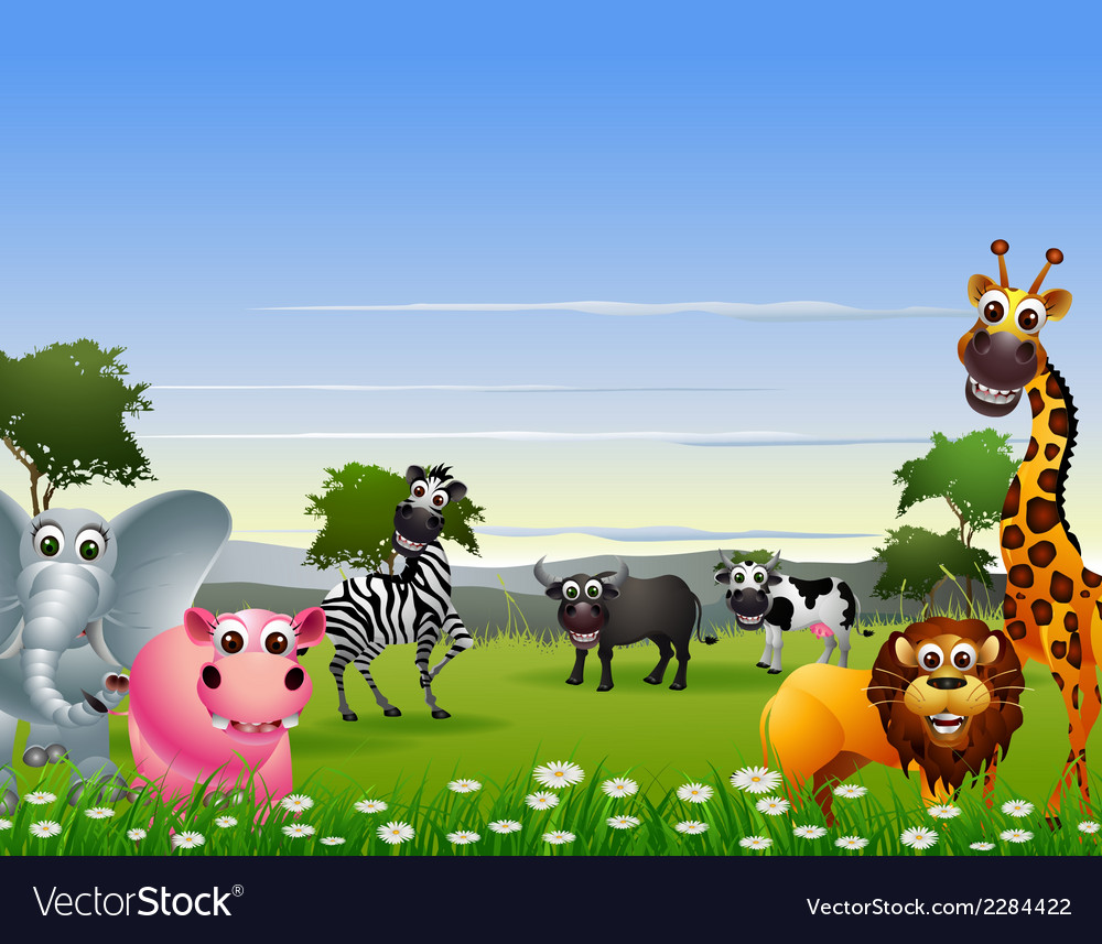 Funny animal cartoon with nature background vector | Price: 3 Credit (USD $3)
