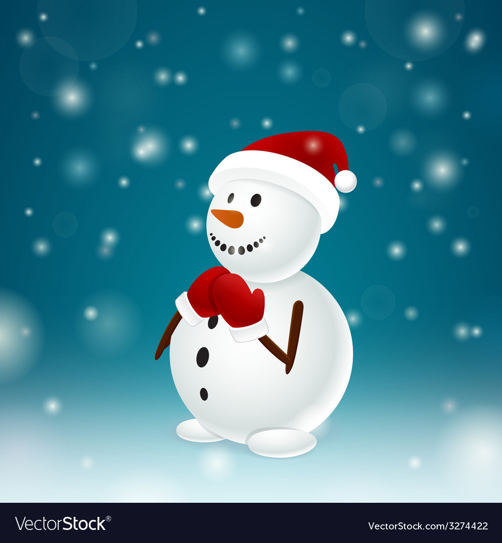 Funny snowman with mittens vector | Price: 1 Credit (USD $1)