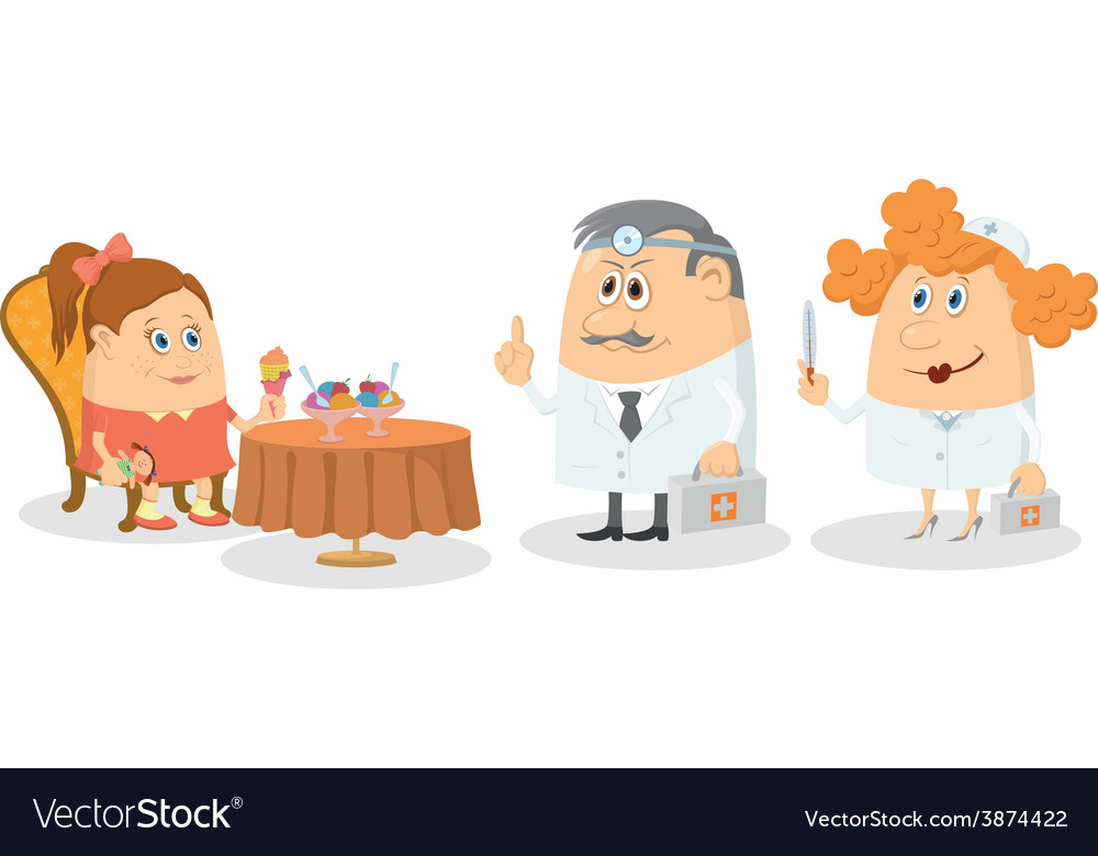 Girl near table with ice-cream and doctors vector   Price: 1 Credit (USD $1)