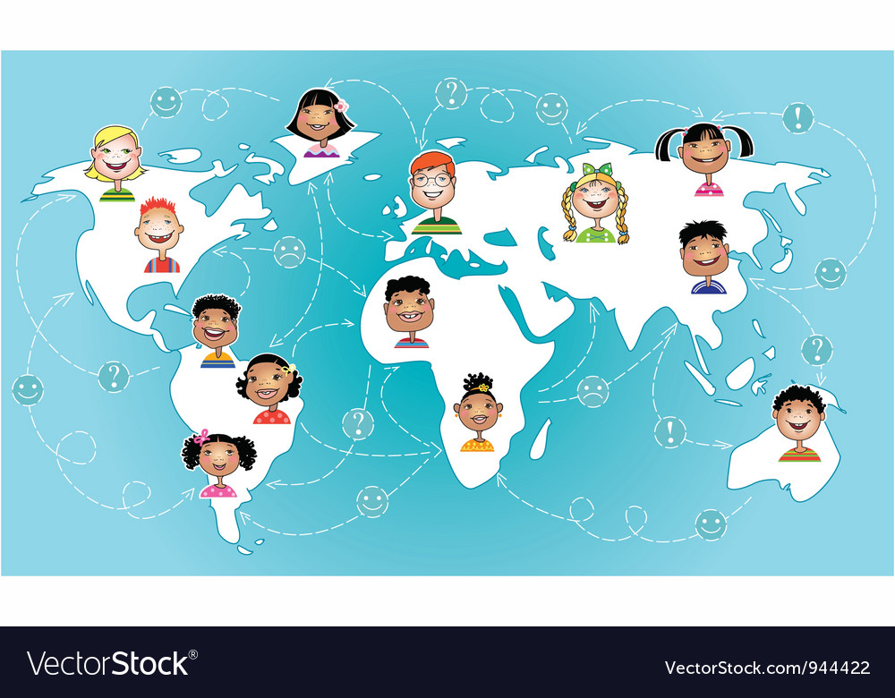 Kids connected worldwide vector | Price: 3 Credit (USD $3)