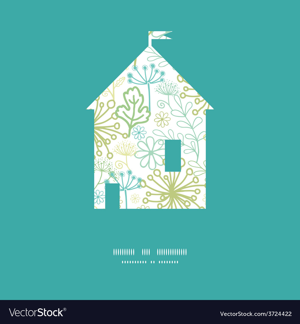 Mysterious green garden house silhouette vector | Price: 1 Credit (USD $1)