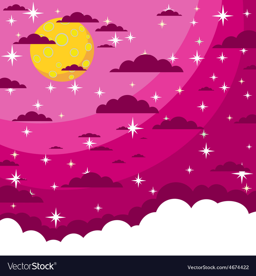 Night beautiful moonlit sky vector | Price: 1 Credit (USD $1)