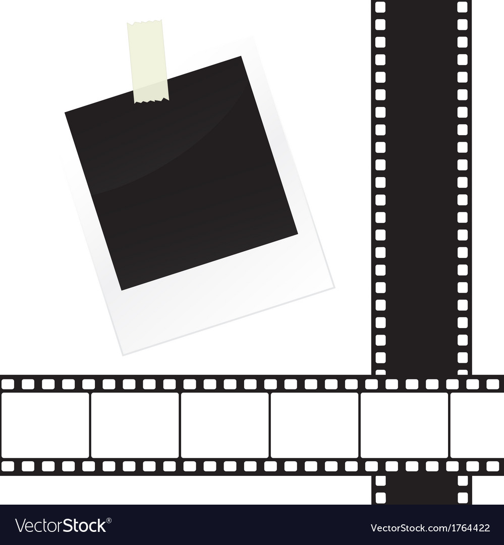 Photo frame sticker with tape and film strip frame vector | Price: 1 Credit (USD $1)