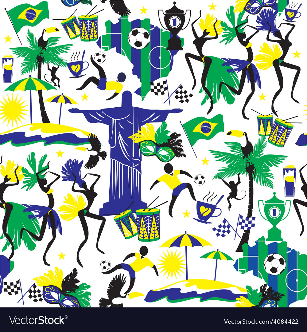 Seamless pattern with traditional brazilian items vector | Price: 3 Credit (USD $3)