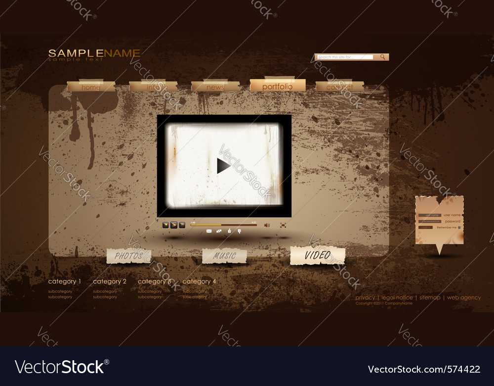 Vintage portfolio website vector | Price: 1 Credit (USD $1)