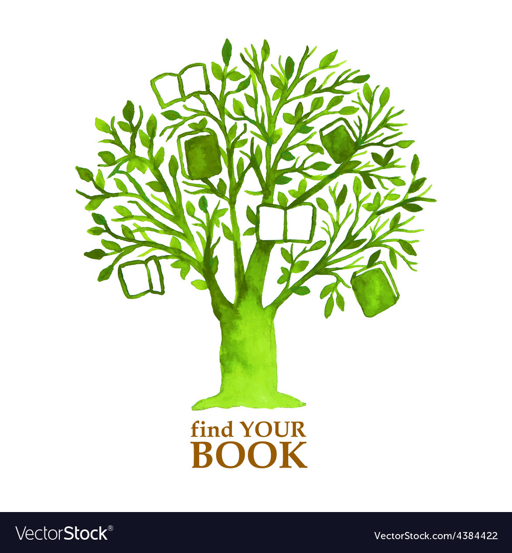 Watercolor green tree with hunging books vector | Price: 1 Credit (USD $1)