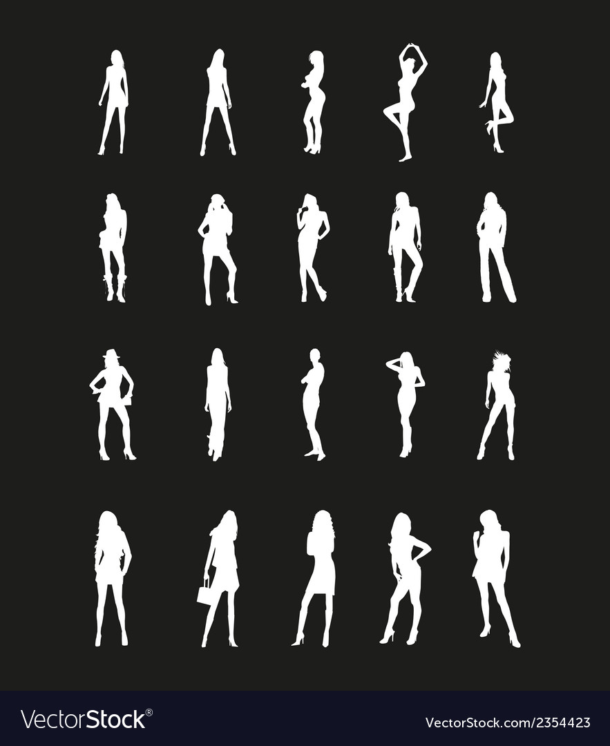 Beautiful girls silhouettes vector | Price: 1 Credit (USD $1)