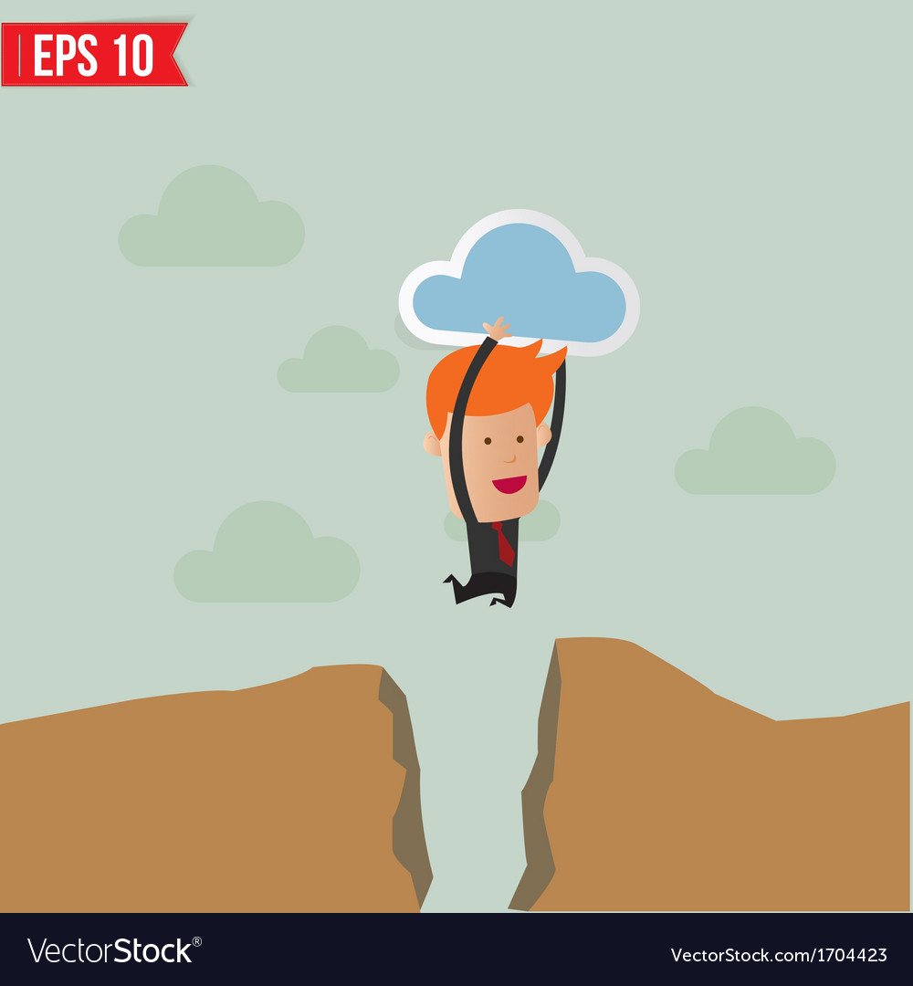 Business man jump across the hill - - eps10 vector | Price: 1 Credit (USD $1)