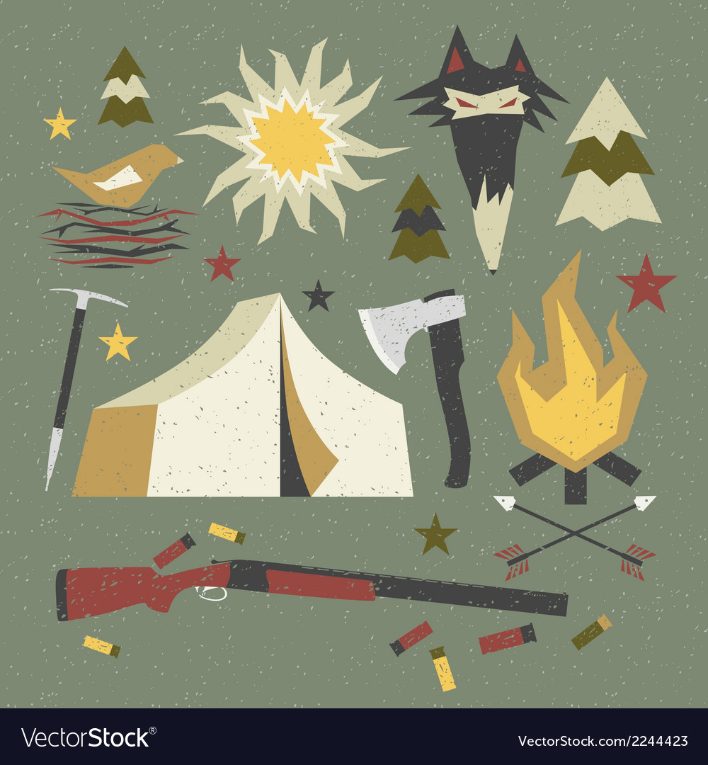 Camping and hiking elements with shabby texture vector | Price: 1 Credit (USD $1)