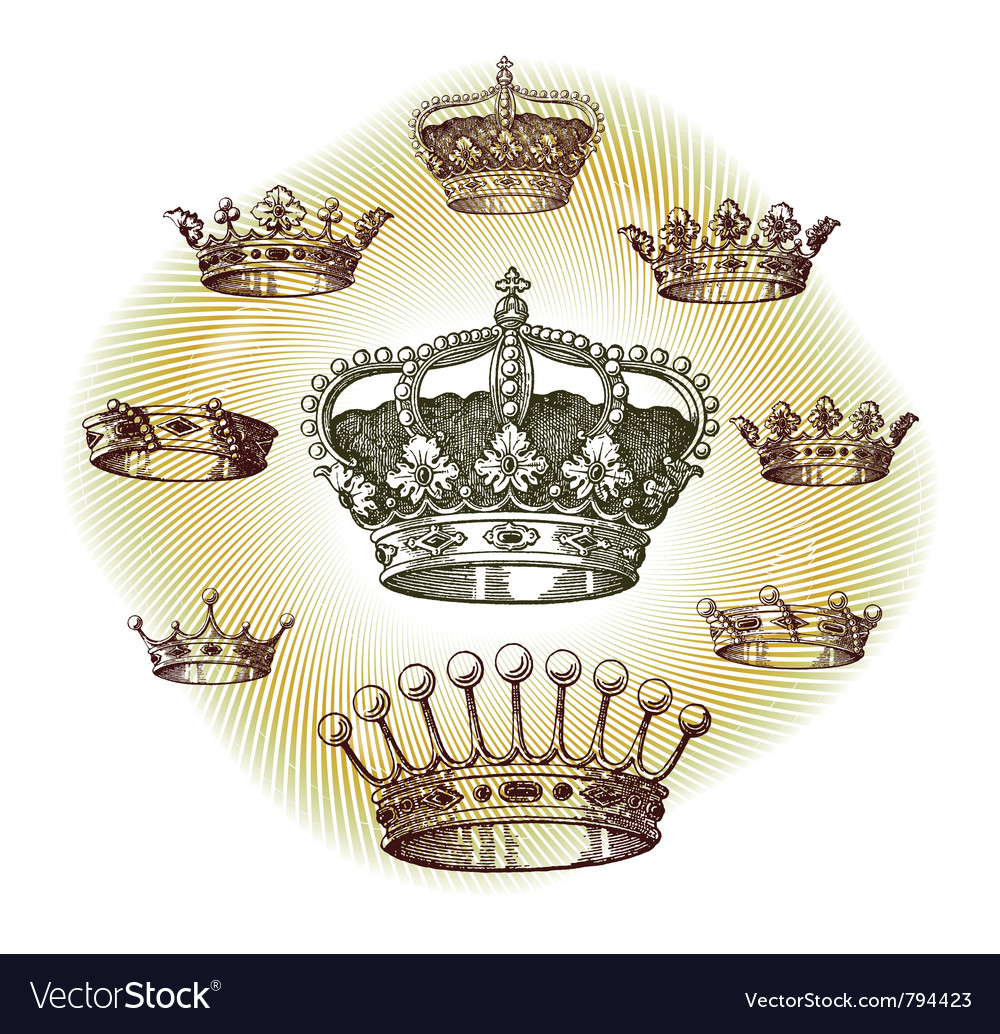Old crown set vector | Price: 1 Credit (USD $1)