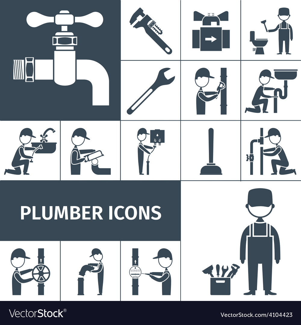 Plumber icons black vector | Price: 1 Credit (USD $1)