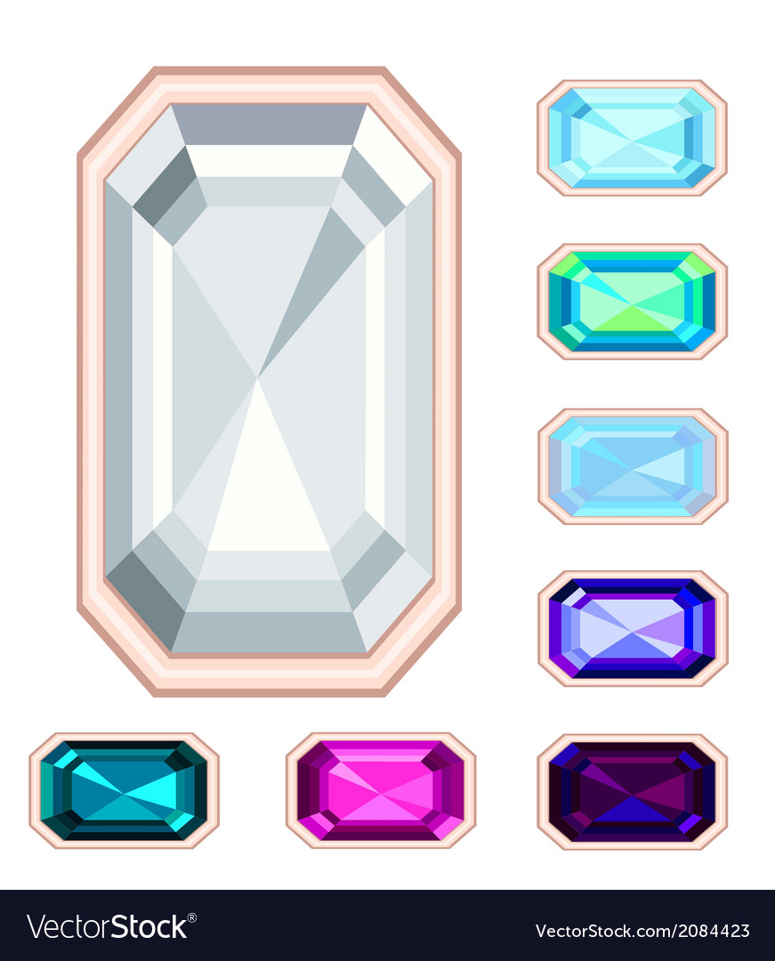 Rectangle gemstone set vector | Price: 1 Credit (USD $1)