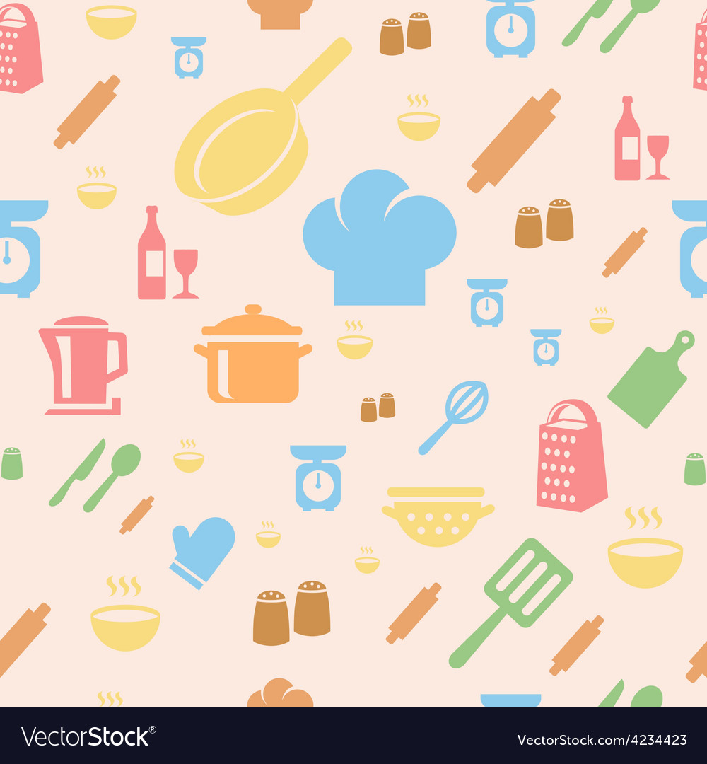 Seamless repetitive pattern with kitchen items in vector | Price: 1 Credit (USD $1)