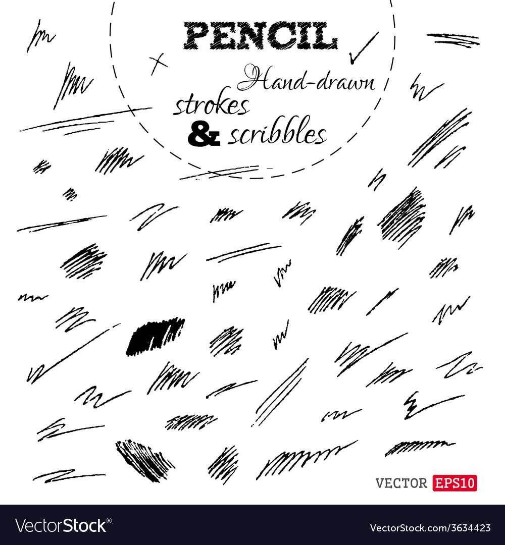 Set of hand-drawn pencil strokes and scribbles vector   Price: 1 Credit (USD $1)