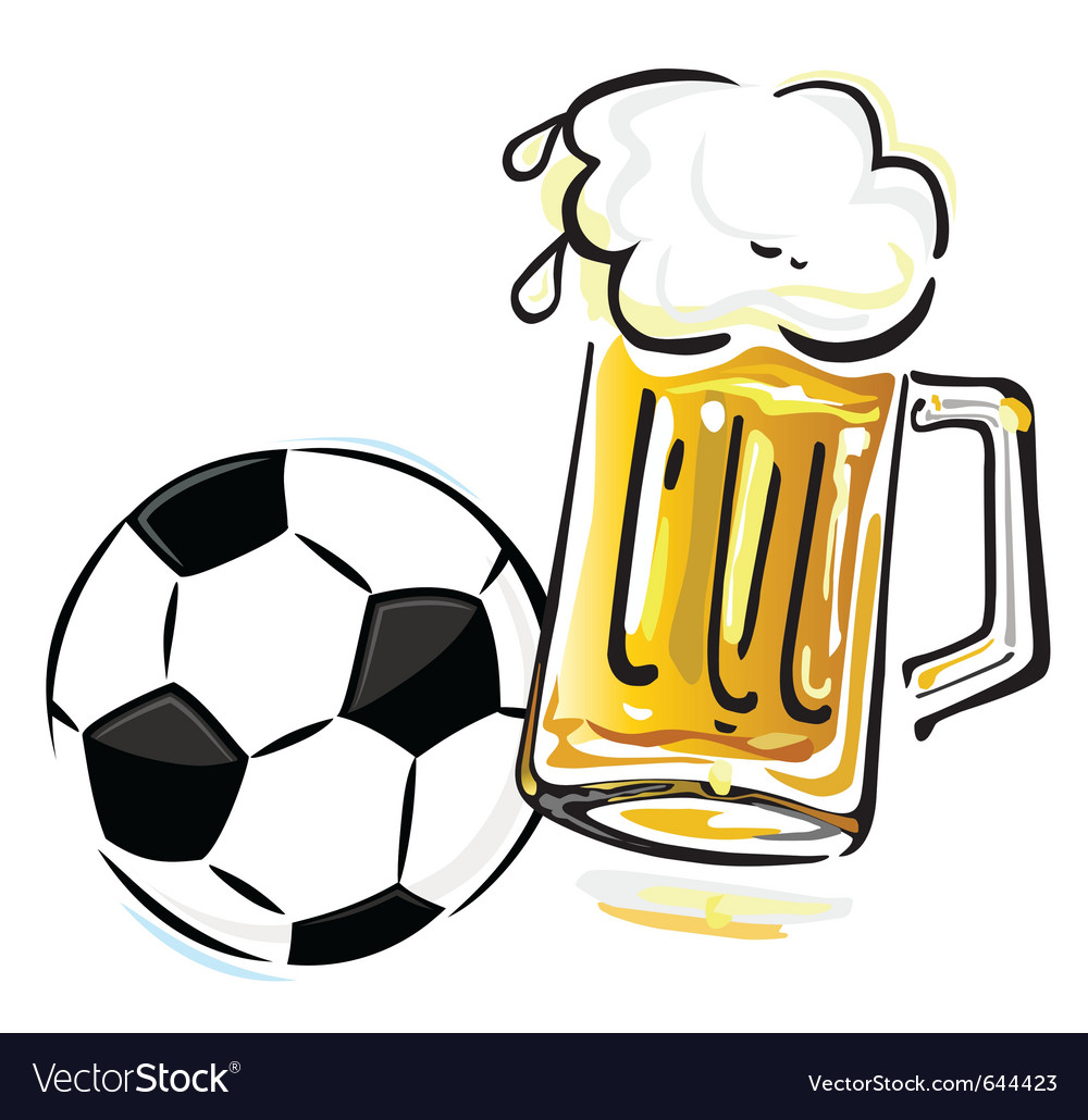 Soccer ball and beer vector | Price: 1 Credit (USD $1)
