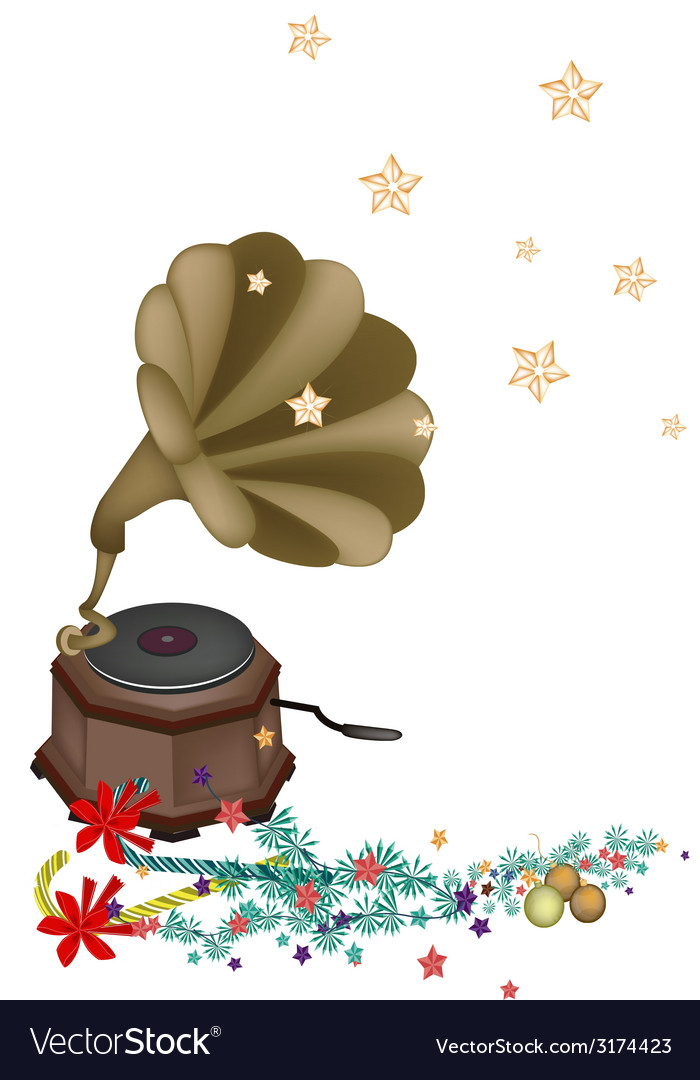 Vintage gramophone playing christmas song vector | Price: 1 Credit (USD $1)