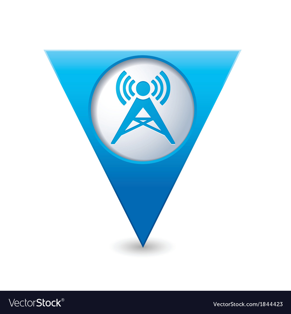 Wireless icon map pointer blue vector | Price: 1 Credit (USD $1)