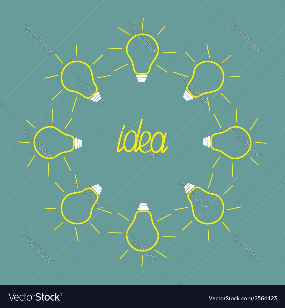 Yellow empty light bulb round frame idea concept vector | Price: 1 Credit (USD $1)