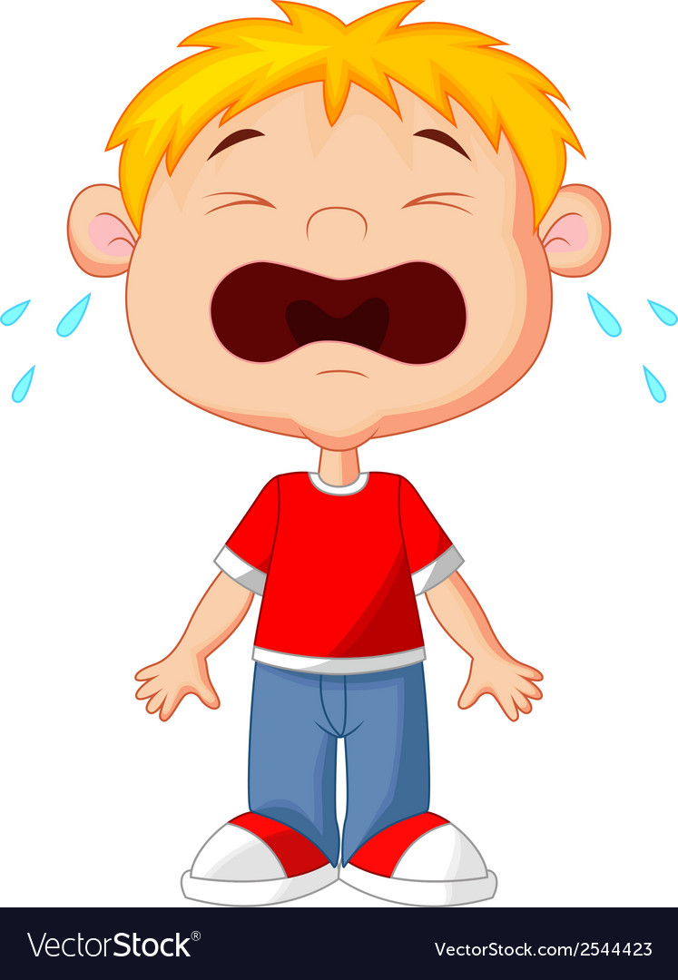 Young boy cartoon crying vector | Price: 1 Credit (USD $1)
