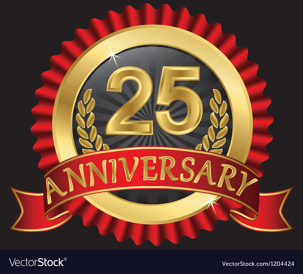 25 years anniversary golden label with ribbons vector | Price: 3 Credit (USD $3)