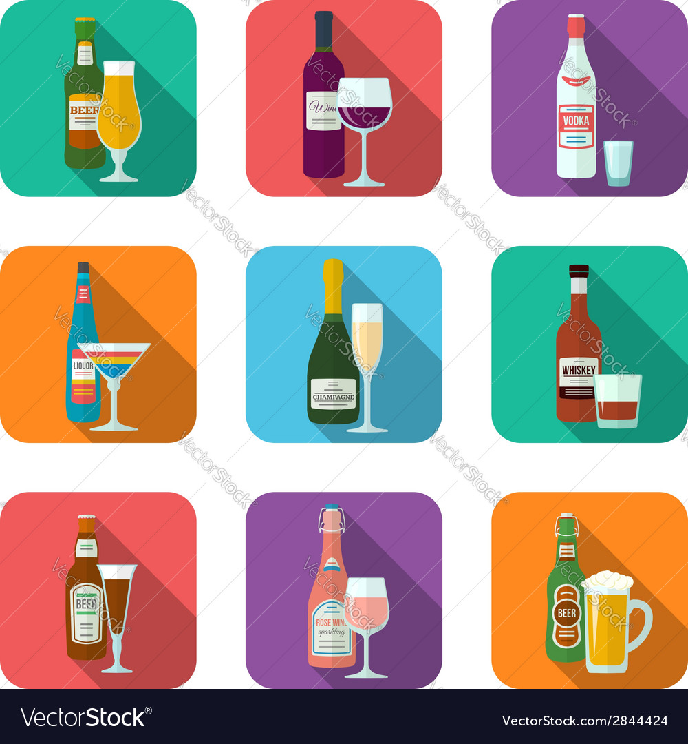 Alcohol bottles and glasses icons set vector | Price: 1 Credit (USD $1)