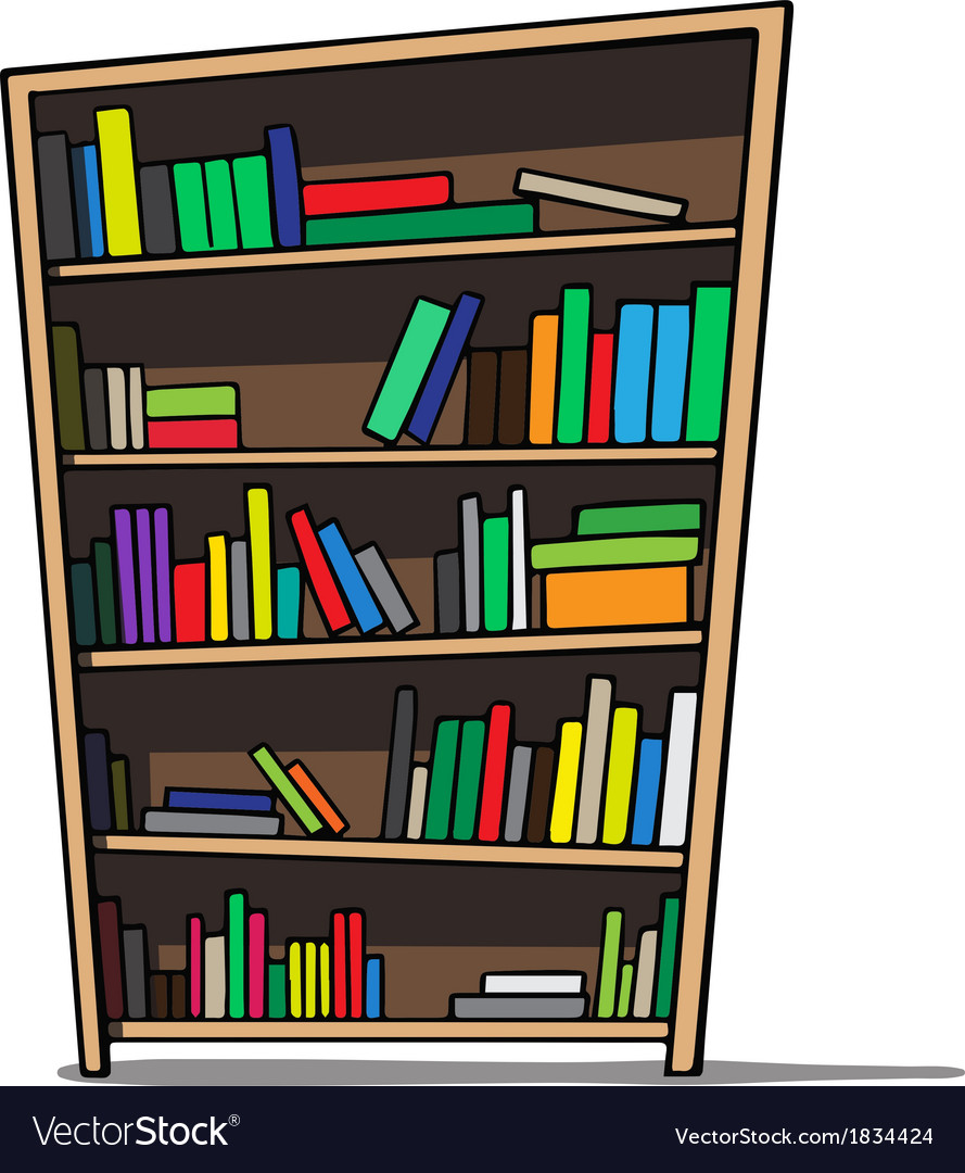 Cartoon of a bookshelf vector | Price: 1 Credit (USD $1)