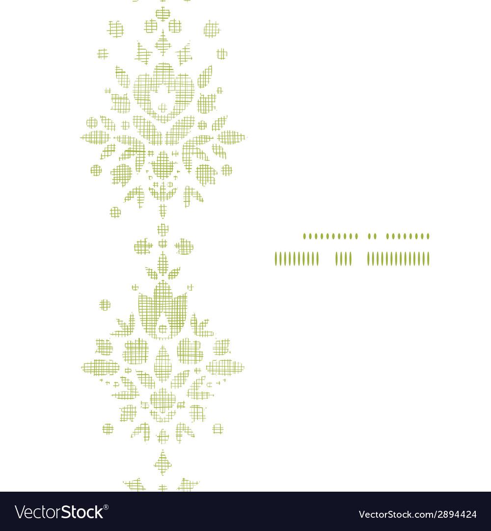 Green textile damask flower vertical frame vector | Price: 1 Credit (USD $1)