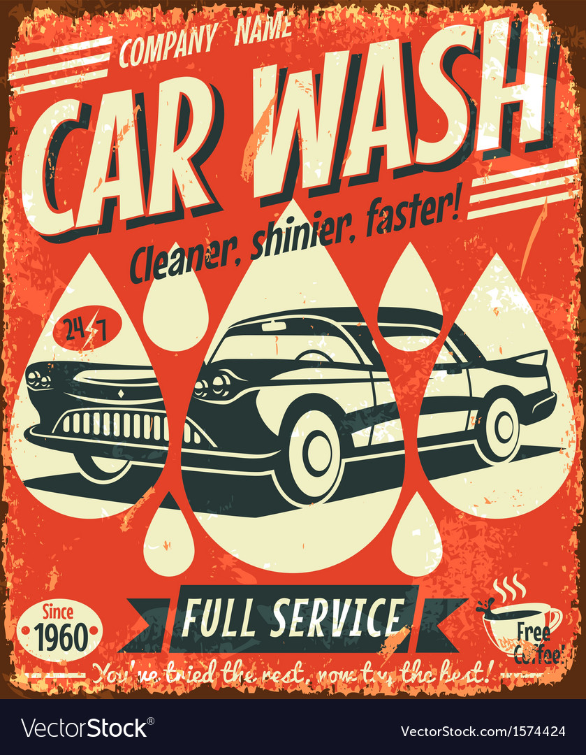 Retro car wash sign vector | Price: 1 Credit (USD $1)