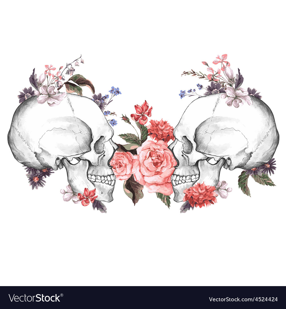 Roses and skull day of the dead vector | Price: 1 Credit (USD $1)